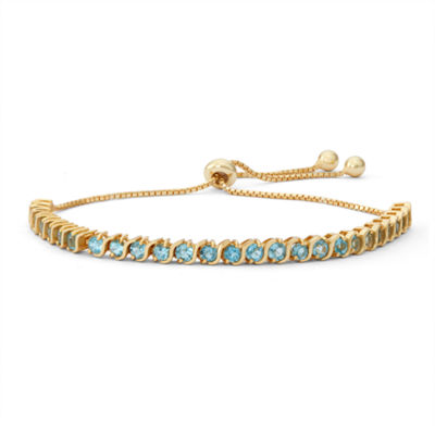 Genuine Blue Topaz 14K Gold Over Silver Bolo Bracelet