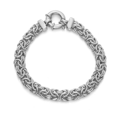 Made in Italy Sterling Silver 7.5 Inch Semisolid Byzantine Chain Bracelet