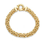 Made in Italy 14K Gold Over Silver 7.5 Inch Semisolid Byzantine Chain Bracelet