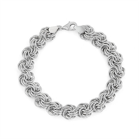 Made In Italy Sterling Silver 75 Inch Semisolid Chain Bracelet