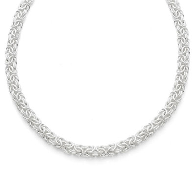 Made in Italy Sterling Silver 17 Inch Semisolid Byzantine Chain Necklace