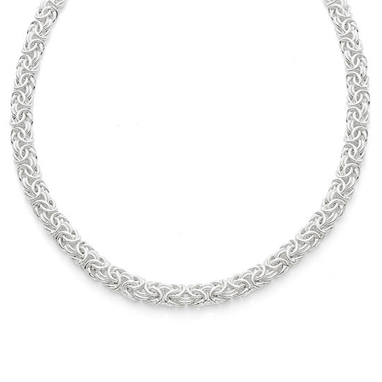 Made In Italy Sterling Silver 20 Inch Semisolid Byzantine Chain Necklace