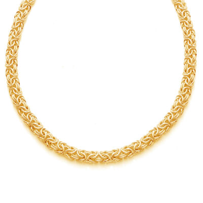 Made in Italy 14K Gold Over Silver 20 Inch Semisolid Byzantine Chain Necklace