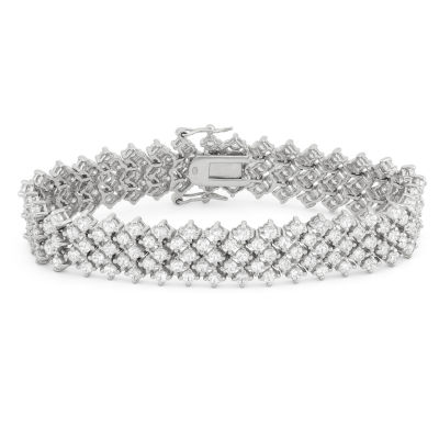 Diamonart Womens Greater Than 6 CT. T.W. White Cubic Zirconia Sterling Silver Tennis Bracelet