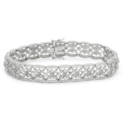 Diamonart Womens 4 1/4 CT. T.W. White Cubic Zirconia Sterling Silver Tennis Bracelet