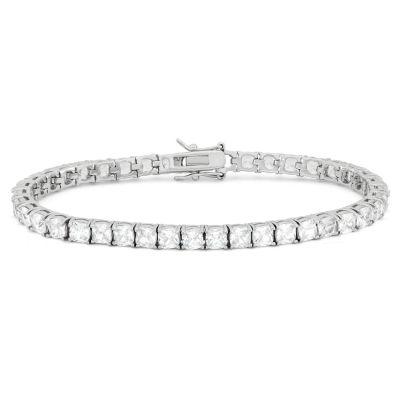 Diamonart Womens White Cubic Zirconia Sterling Silver Tennis Bracelet