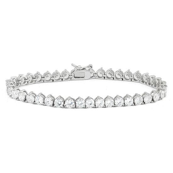 Diamonart White Cubic Zirconia Sterling Silver 7.25 Inch Tennis Bracelet