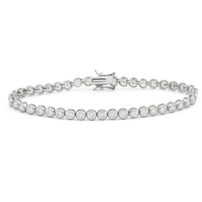 Diamonart Womens 4 1/2 CT. T.W. White Cubic Zirconia Sterling Silver Tennis Bracelet