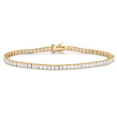 Diamonart White Cubic Zirconia 14K Gold Over Silver 7.25 Inch Tennis Bracelet