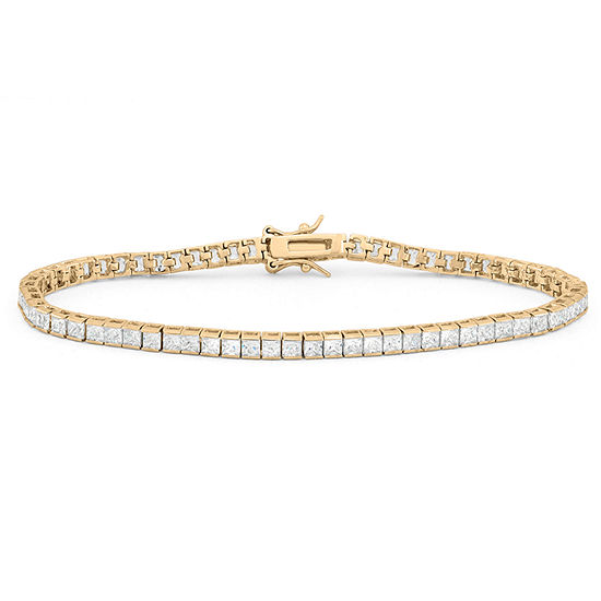 Diamonart White Cubic Zirconia 14K Gold Over Silver 7.25 Inch Tennis Bracelet