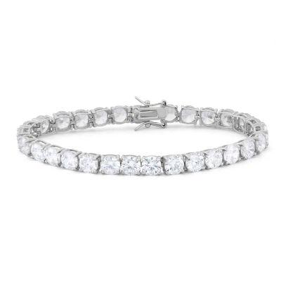 Diamonart Womens Greater Than 6 CT. T.W. White Cubic Zirconia Sterling Silver Tennis Bracelet