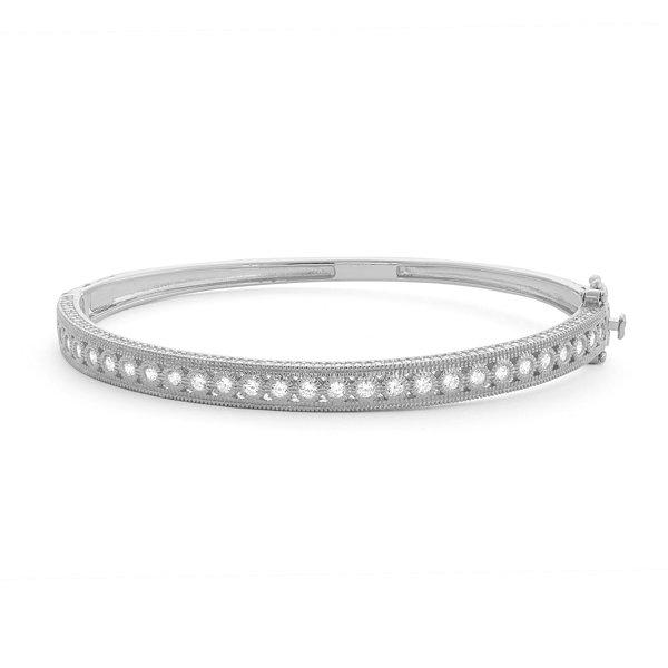 Fine Jewelry Diamonart Womens 2 CT. T.W. White Cubic Zirconia Sterling Silver Bangle Bracelet pSoT2uF