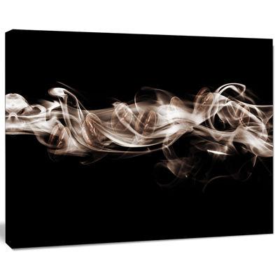 Designart Fractal White Smoke Abstract Canvas ArtPrint