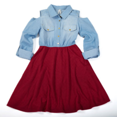 Love At First Sight Denim With Quilted Skirt Shirt Dress