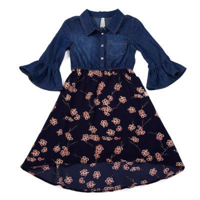 Love At First Sight Denim With Chiffon Skirt Shirt Dress