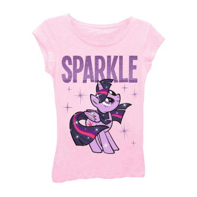 """My Little Pony Girls' """"Sparkle"""" with Stars Short Sleeve Graphic T-Shirt with Purple Glitter"""