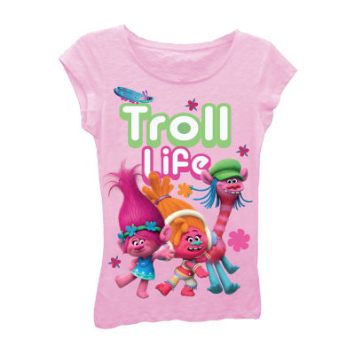 "Trolls Girls' ""Troll Life"" Short Sleeve Graphic T-Shirt with Crystalline"