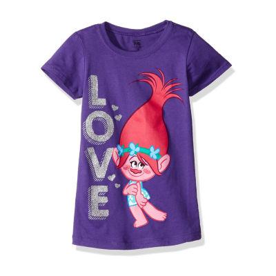 "Trolls Girls' Princess Poppy ""Love"" Short Sleeve Graphic T-Shirt with Silver Glitter"