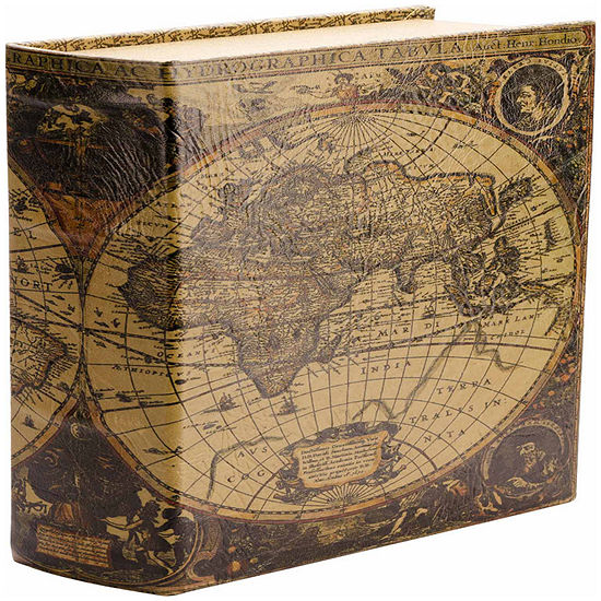 Barska Antique Map Book Lock Box With Key Lock JCPenney - Antique map box