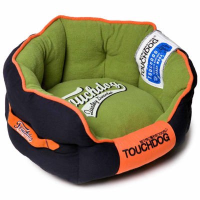 The Pet Life Touchdog Polo-Striped Convertible and Reversible Squared 2-in-1 Collapsible Dog House Bed