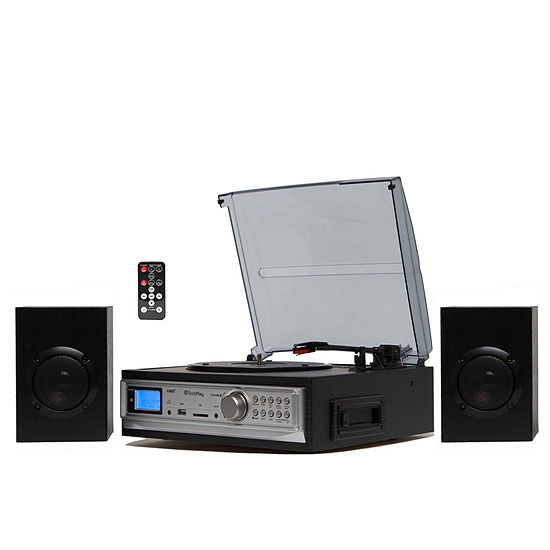 TechPlay Black 3-Speed Turntable & Cassette player W/SD