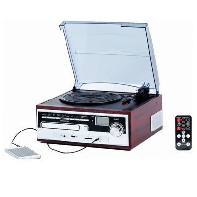 TechPlay ODC26WD 3 Speed Retro Classic Turntable W/ CD Player
