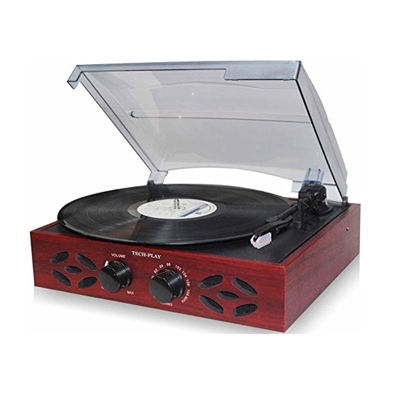 TechPlay 3 Speed Wooden Retro Classic Turntable with FM Radio