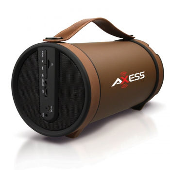Axess Portable Bluetooth Indoor/Outdoor 2.1 Hi-Fi Cylinder Loud Speaker with SD Card