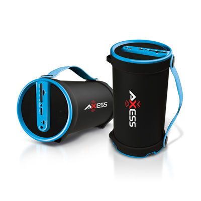 Axess Portable Bluetooth 2.1 Hi-Fi Cylinder Speaker w/SD Card