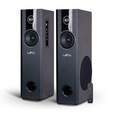 beFree Sound 2.1 Channel Home Theater Bluetooth Powered Black Tower Speakers