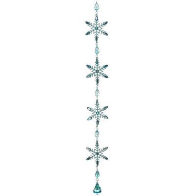 "20"" Winter Frost Aquamarine Blue Glitter Snowflake Christmas Dangle Ornament"""