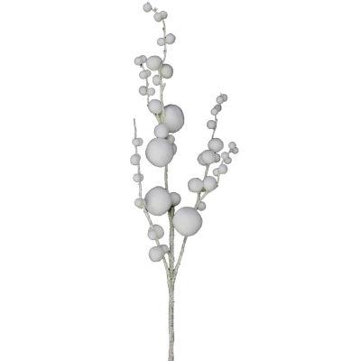 """28.5"""" White Pom Pom Floral Christmas Spray with Glittered Stem"""""""