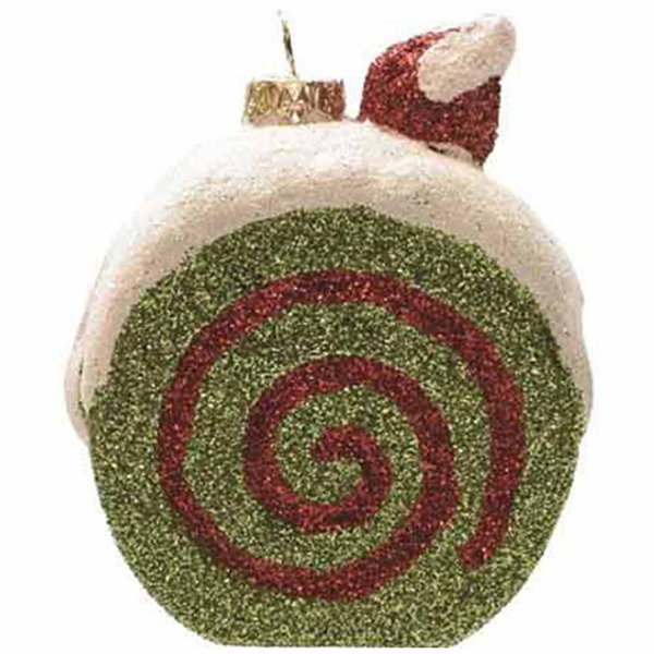 "3.25"" Merry & Bright Green  White and Red Glittered Shatterproof Cake Slice Christmas Ornament"""