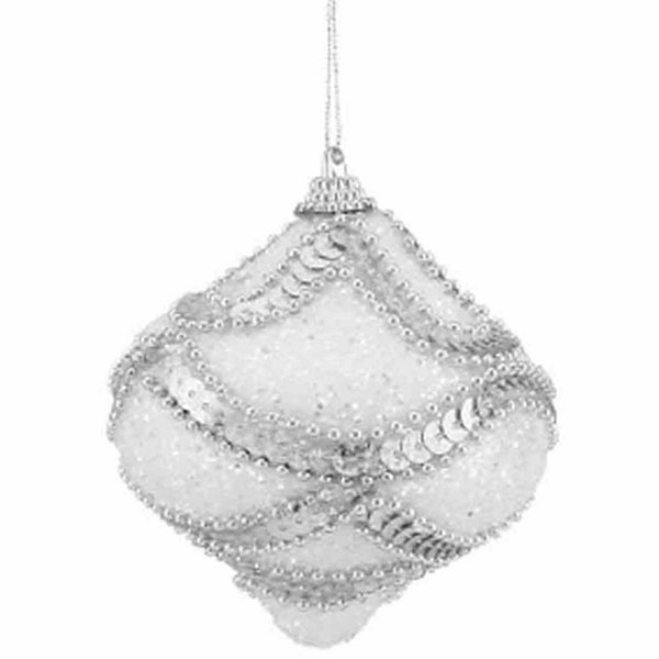 "3ct White  Holographic Sequined and Silver BeadedShatterproof Onion Christmas Ornaments 3"" (75mm)"""