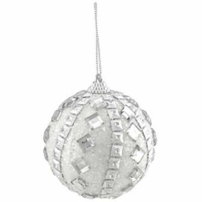 "3ct White and Silver Rhinestone and Glitter Shatterproof Christmas Ball Ornaments 3"" (75mm)"""