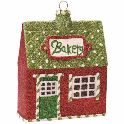 """4"""" Merry & Bright Green  Red and White Glittered Shatterproof """"Bakery"""" Christmas Ornament"""""""
