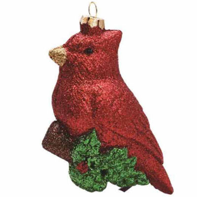 """4.25"""" Merry & Bright Glitter Drenched ShatterproofCardinal Bird on Branch Christmas Ornament"""""""
