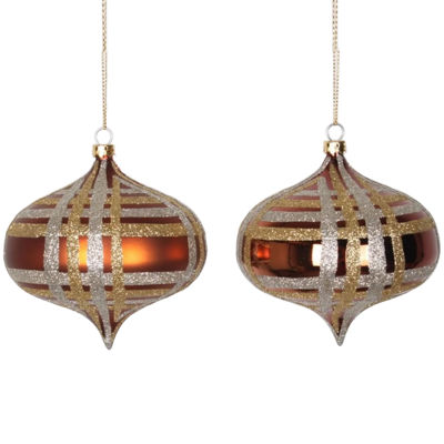 "4ct Copper w/ Champagne Gold & Silver Glitter Plaid Shatterproof Christmas Onion Ornaments 4"" (100mm)"""