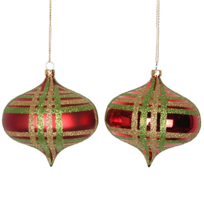 "4ct Red w/ Lime Green & Champagne Gold Glitter Plaid Shatterproof Christmas Onion Ornaments 4"" (100mm)"""