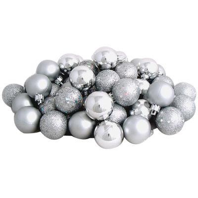 "60ct Silver Splendor Shatterproof 4-Finish Christmas Ball Ornaments 2.5"" (60mm)"""