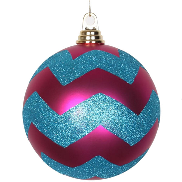 "Cerise Pink Matte w/ Turquoise Blue Glitter Chevron Commercial Size Christmas Ball Ornament 6""(150mm)"""