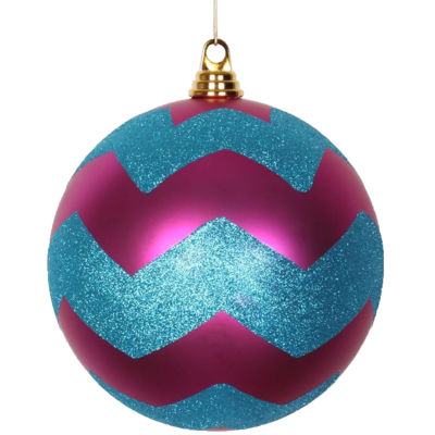 """Cerise Pink Matte w/ Turquoise Blue Glitter Chevron Commercial Size Christmas Ball Ornament 8"""" (200mm)"""""""