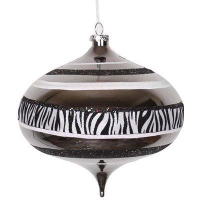 """Diva Safari Zebra Print & Stripes Black and White Commercial Christmas Onion Ornament 8"""" (200mm)"""""""