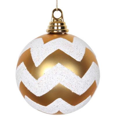 "Gold Matte and White Glitter Chevron Shatterproof Christmas Ball Ornament 4.75"" (120mm)"""