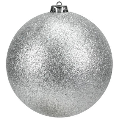 """Shatterproof Silver Splendor Holographic Glitter Christmas Ball Ornament 6"""" (150mm)"""""""