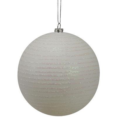 """Winter White Glitter Striped Shatterproof Christmas Ball Ornament 4.75"""" (120mm)"""""""
