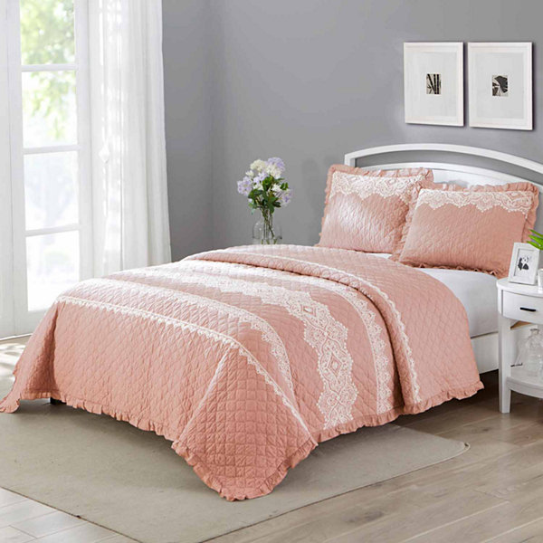 Wonder Home Belmont 3PC Cotton Lace Embroidered Quilt Set