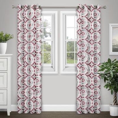 Journee Home Cormac 84-in Grommet Printed Room Darkening Curtain Panel Pair