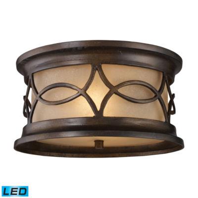 Burlington Junction 2-Light Outdoor LED Flush Mount In Hazelnut Bronze