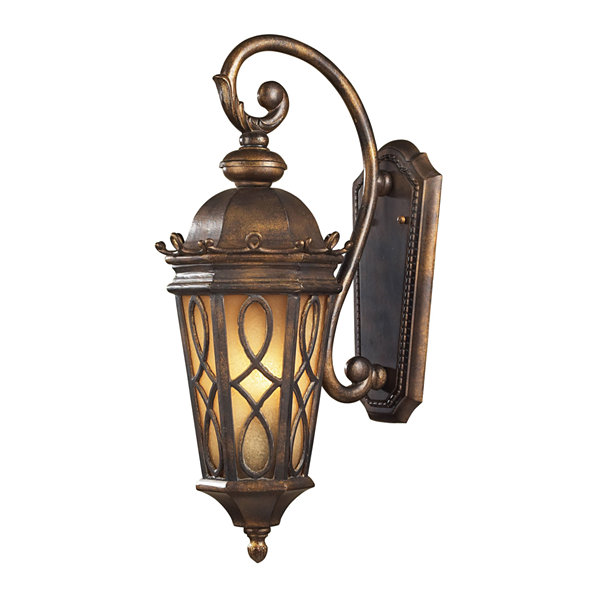 Burlington Junction 2-Light Outdoor Wall Sconce InHazlenut Bronze And Amber Scavo Glass